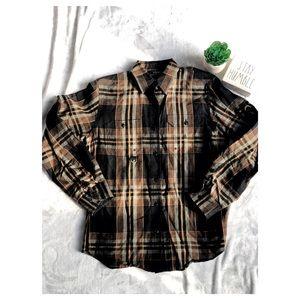 Lauren Ralph Lauren 100% Linen Plaid Button Shirt